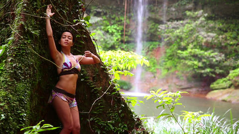 Sexy girl with bikini in forest Stock Video Footage