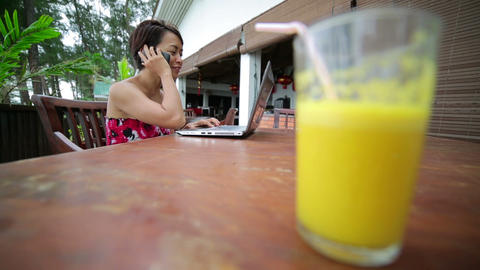 Freelancer woman working at cafe Stock Video Footage