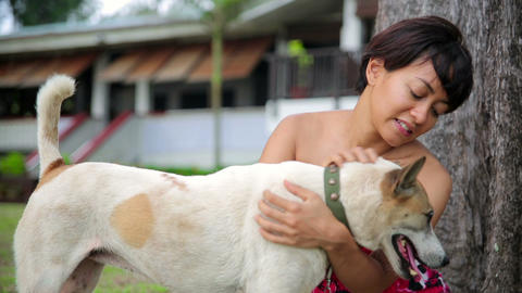 Asian woman exercise her dog Stock Video Footage