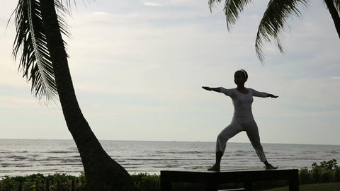 silhouette yoga meditation at beach Stock Video Footage
