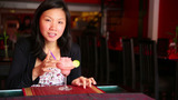 Asian Young Woman Drink Cocktail stock footage