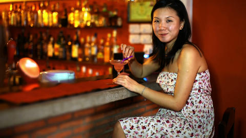 Asian young woman drink cocktail Footage
