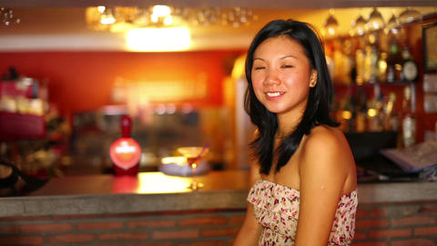 asian girl suprise at bar Stock Video Footage