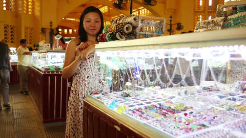 Asian girl shopping central market Stock Video Footage