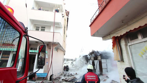 ISTANBUL, TURKEY - FEBRUARY 2012: behind the scene of fire Stock Video Footage