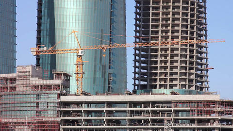 construction of skyscraper building Stock Video Footage