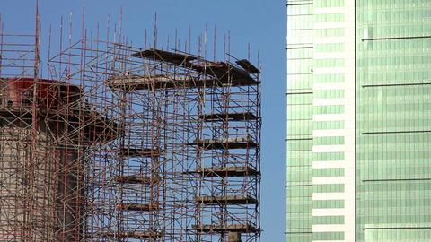 construction of skyscraper building Stock Video Footage