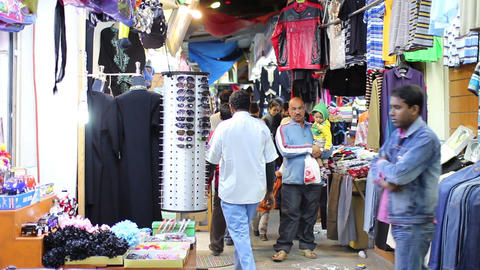 BAHRAIN - MARCH 2012: people shopping in local market Stock Video Footage