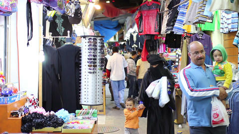 BAHRAIN - MARCH 2012: people shopping in local market Footage