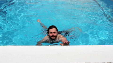 man swim in swimming pool Stock Video Footage