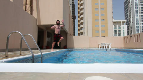 man swim in swimming pool Stock Video Footage