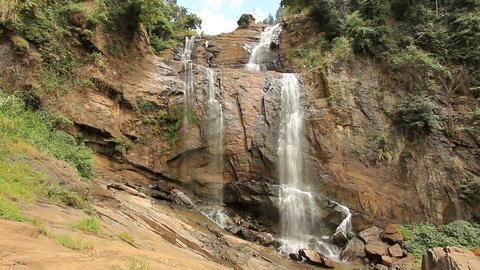 Bambarakanda waterfall, sri lanka Stock Video Footage