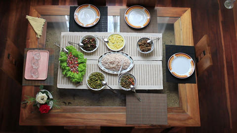preparing meal table at home Stock Video Footage