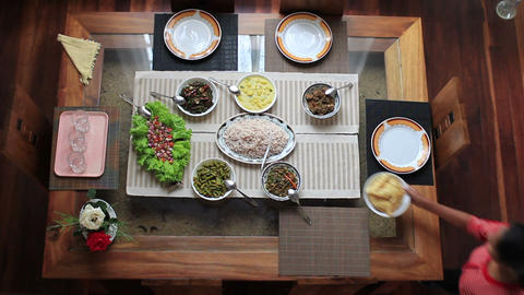 Preparing Meal Table At Home stock footage