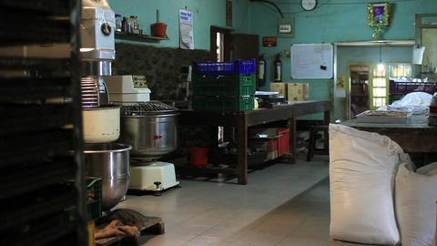 SRI LANKA - MARCH 2012: dirty, unhygienic pastry kitchen Stock Video Footage