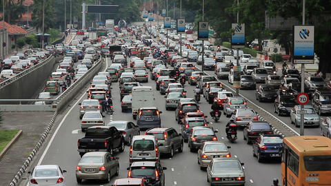 KUALA LUMPUR - MARCH 2012: traffic jam in city center Stock Video Footage