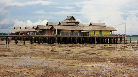 wooden houses in Penyengat island Footage