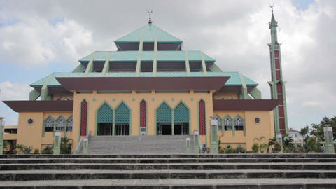 Masjid Raya Batam pyramid mosque Stock Video Footage