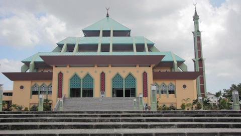 Masjid Raya Batam pyramid mosque Stock Video Footage