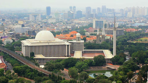istiqlal mosque, jakarta, indonesia Stock Video Footage