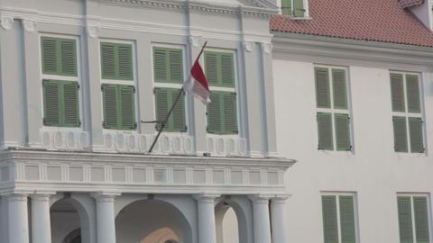 indonesian flag in kota, jakarta Stock Video Footage