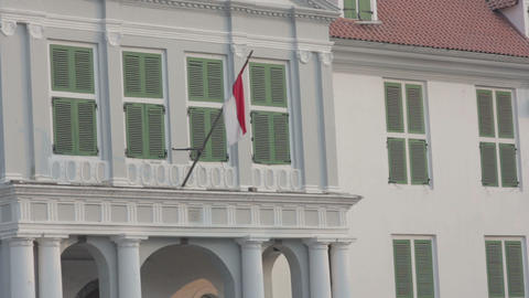 indonesian flag in kota, jakarta Stock Video Footage