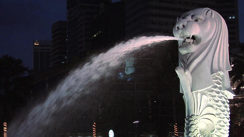 The Merlion lit at Night, Singapore Live Action