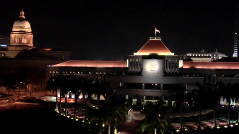 The Parliament House at Night with the Former Supreme Court, Singapore Live Action