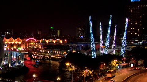 Clarke Quay at Night, Singapore Footage
