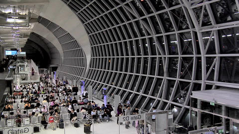 Inside near a Boarding Gate at the New Suvarnabhumi International Airport Live Action