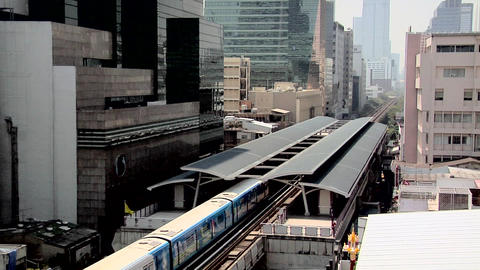The Skytrain at the Sala Daeng Station, Bangkok Live Action