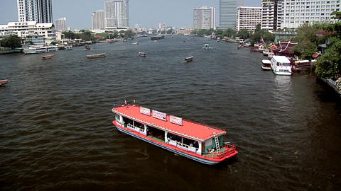Cross River Ferry on Chao Phraya River, Bangkok Footage