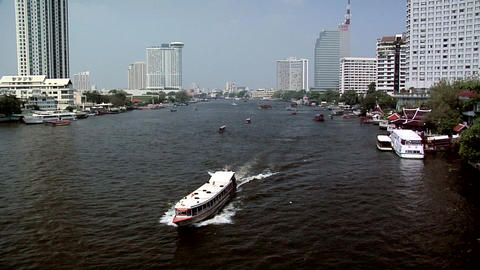Expressboat on Chao Phraya River, Bangkok Live Action