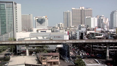 Skytrain and Buildings of Sukhumvit Soi 3, Bangkok Live Action