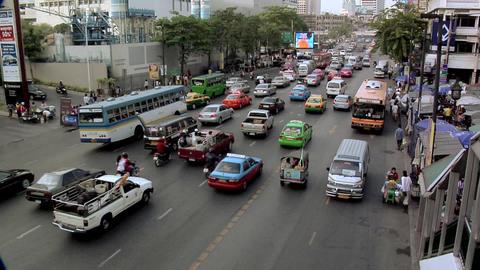 Afternoon Traffic on Ratchadamri Road, Bangkok Live Action