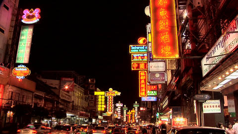 Neon Signs at Th Yaowarat in Chinatown at Night Stock Video Footage