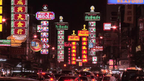 Neon Signs at Th Yaowarat in Chinatown at Night Live Action