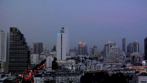 Elevated View at Night of Silom and CBD District, Bangkok Live Action