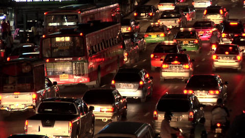 Night Traffic at Ratchadamri Road, Bangkok Live Action