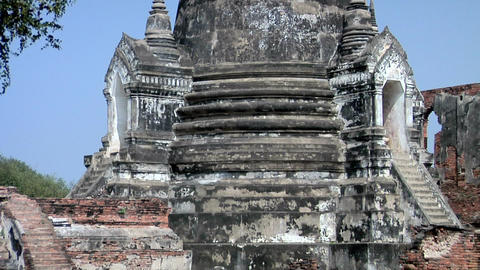 The 3 Chedis (Stupas) Temple Ruins of the Ancient Palace Wat Phra Si Sanphet, Ay Footage