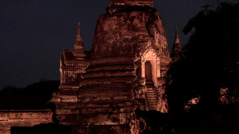 The 3 Chedis (Stupas) at Night of the Ancient Palace Wat Phra Si Sanphet, Ayutha Footage