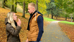 unhappy couple - couple argue - autumn park (nature) Footage