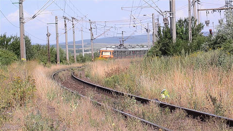 Passenger train departs from station 14 Footage