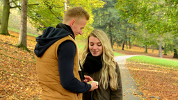young model couple in love - autumn park(nature) - couple (man and woman) talkin Footage