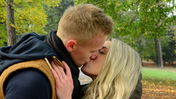 young model couple in love - autumn park(nature) - couple (man and woman) walkin Footage