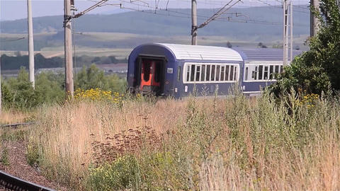 Passenger train departs from station 20b Footage