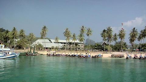 Long Tail Boats on Ao Loh Lam Beach Footage