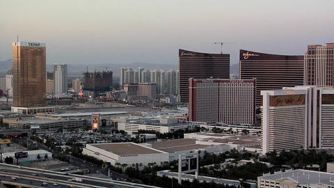 View of the Casino-Hotels of the Las Vegas Strip and the I-15 Freeway Footage