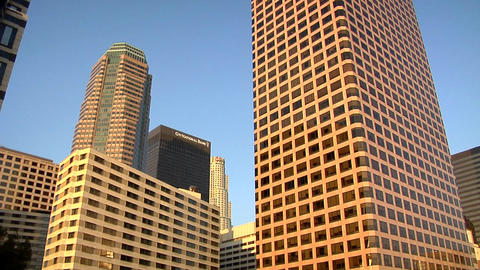 High Rising Buildings in Los Angeles Down Town early evening Footage