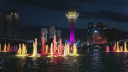 Fountain show in the Astana, Kazakhstan Footage